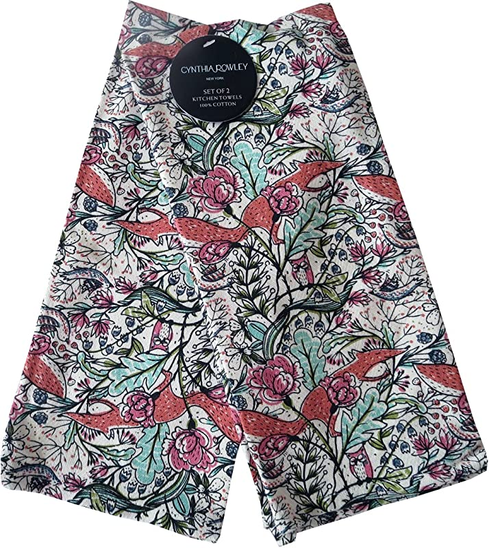 Cynthia Rowley Home Decor Kitchen Towels Foxy Floral 2 Pack Set