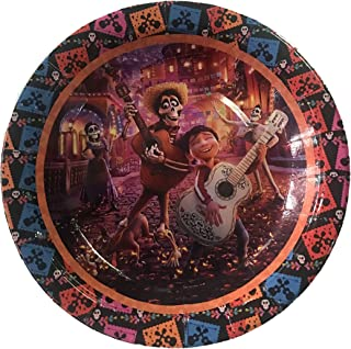"""Party Over Here Coco Plates, Round 7"""" inch for Cakes or appetizers, 10 Piece Paper Plates,Movie, Miguel, Hector Dia de Los Muertos Day of The Dead"""