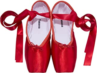WENDYWU Girls Womens Dance Shoe Pink Red Black Ballet Pointe Shoes with Toe Pads