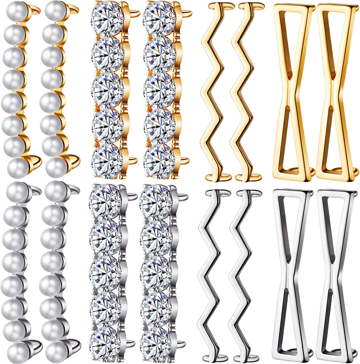 16 online shop Pieces Shoelaces Clips Include Max 73% OFF Pairs Gold Silve 4 and