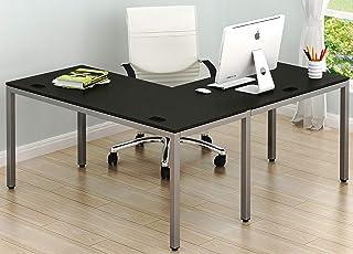 "SHW Home Office 55""x60"" Large L Shaped Corner Desk, Espresso"