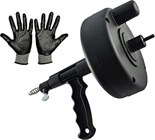SDY Power Drum Auger 25-FT with drill adopter, Plumbing Snake, Drain Auger, Pipe Unblocker Cleaner for removing tough clog from Sink Shower Bathtub and Kitchen Drain with Work Gloves