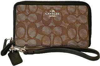 Coach Outline Signature Double Zip Phone Wallet 53537 Khaki Brown