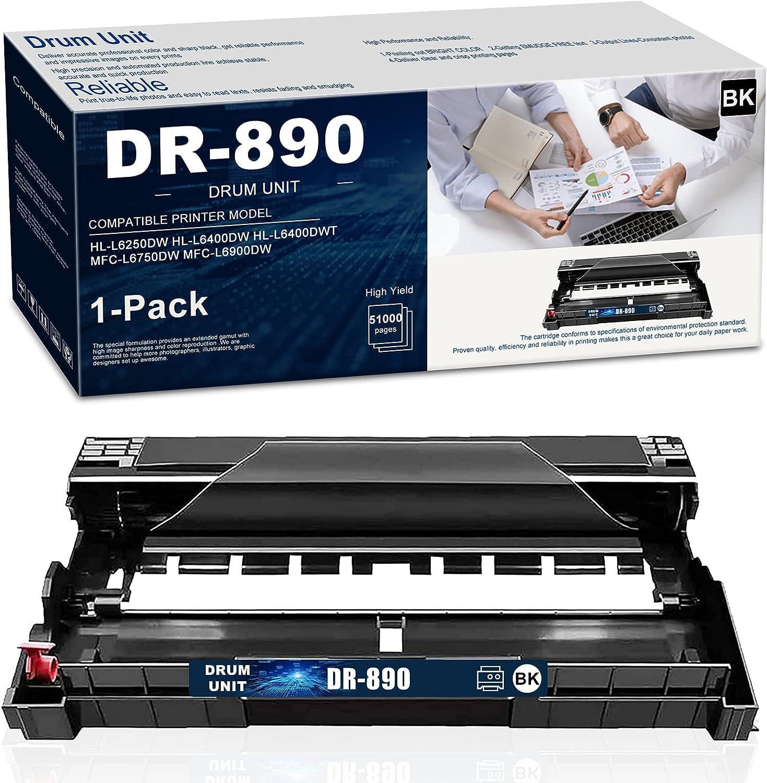(1-PK,Black) DR-890 Compatible Drum Unit Replacement for Brother DR890 HL-L6250DW L6400DW L6400DWT MFC-L6750DW L6900DW Printer Drum Unit, Sold by NEODAYNET.
