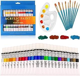 Lot de 24 tubes de peinture acrylique non toxiques pour enfants, adultes, débutants, étudiants, artistes professionnels, p...