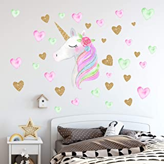 Unicorn Wall Decals,Unicorn Wall Sticker Decor with Heart...