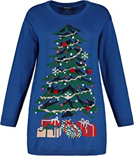 ULLA POPKEN Pullover Weihnachtsbaum Maglione, Hellblau, Grande Taglia Donna