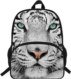 Popular White Tiger Print Backpack For Kids Boys Girls School