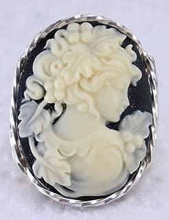 Grecian Goddess Grapes Large Cameo .925 Sterling Silver Ring Black US Ring 5-14
