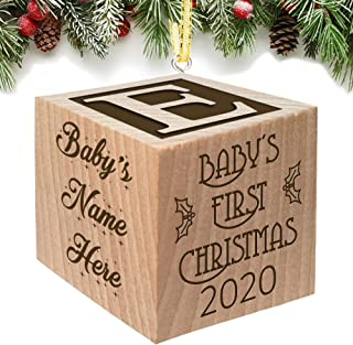 Best Babies First Christmas Ornament Gift 2020 for Boy or Girl - Keepsake Personalized Baby Block Custom Engraved Wooden My First Babys Baby