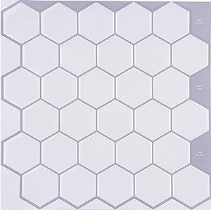 "STIQUICK TILES Peel and Stick Backsplash - for Kitchen Decorative Tiles (10 Sheets)¡¦ (10"" X 10"" 10 Sheets, Honeycomb White)"