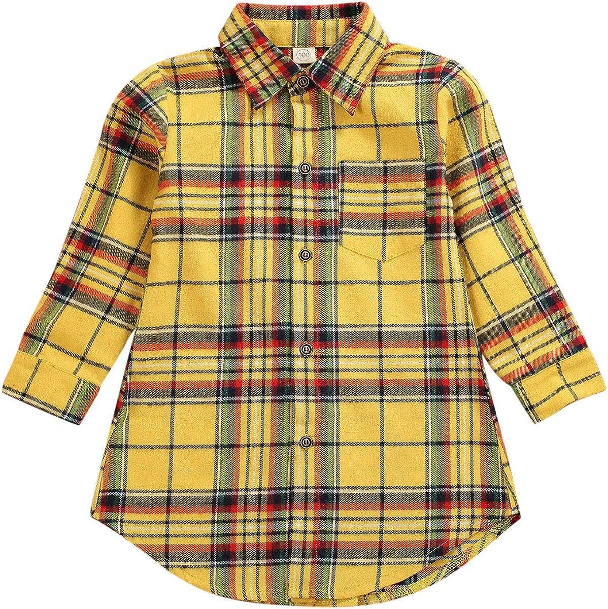 Kids Baby Little Girls Long Sleeve Button Down Plaid Flannel Long Dress Shirt