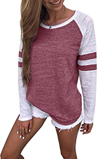 Women's Color Block Long/Short Sleeve T Shirt Casual Round Neck Tunic Tops