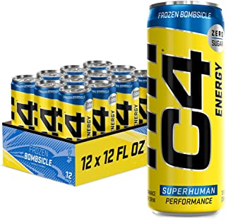C4 Energy Drink 12oz (Pack of 12) - Frozen Bombsicle - Sugar Free Pre Workout Performance Drink with No Artificial Colors ...