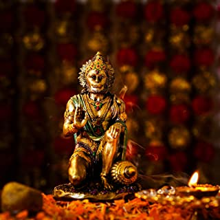 TIED RIBBONS Lord Hanuman Idol in Sitting Position - Bajrangbali Statue Hindu God Murti Idol Sculpture for Home Décor Pooj...