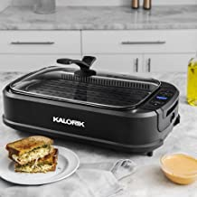 Kalorik, GR 45386 BK, Indoor Smokeless Grill with Tempered Glass Lid, Removable Grill Plate, Drip Tray, Digital Temperature Control LED Display, Precise Cooking up to 460 Degrees.