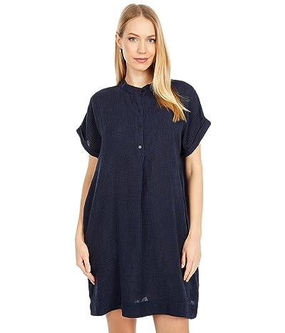 Eileen Fisher Petite Stand Collar Short Sleeve Dress (Ink) Women
