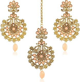 32852f5ed Shining Diva Fashion Latest Stylish Peacock Traditional Maang Tikka Earrings  Jewellery Set for Women and Girls