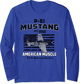 P-51 Mustang WWII Airplane American Muscle Vintage Long Sleeve T-Shirt
