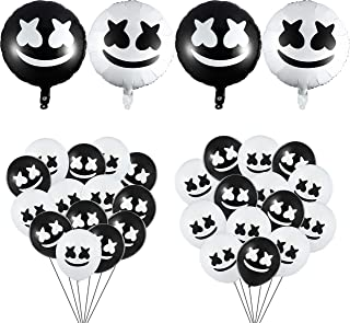 GROBRO7 34Pack Marshmellow Balloons DJ Music Birthday Party Supplies Aluminum Foil Film Balloon Decoration Black White Marshmellow Latex Balloon Wedding Party Favor for Kids Baby Shower Adults