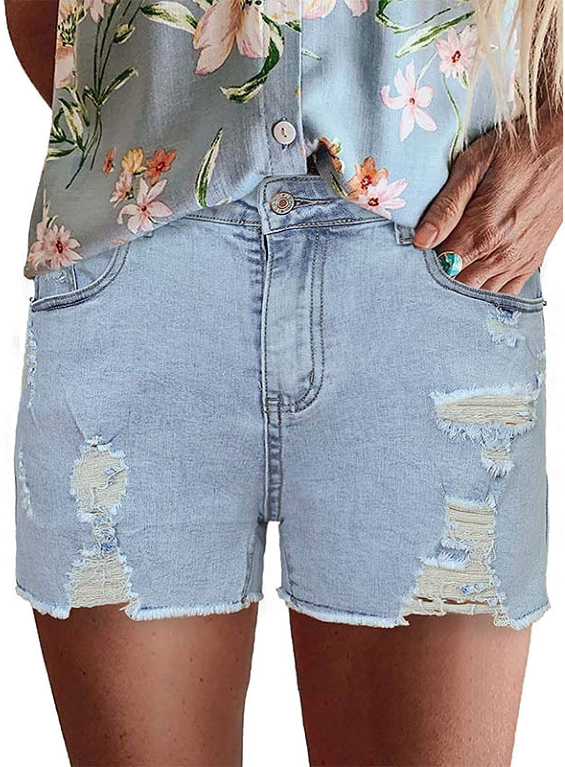 Women ´s Denim OFFicial site Ripped Holes Stretchy Straigh Mid Waist Sale item Shorts