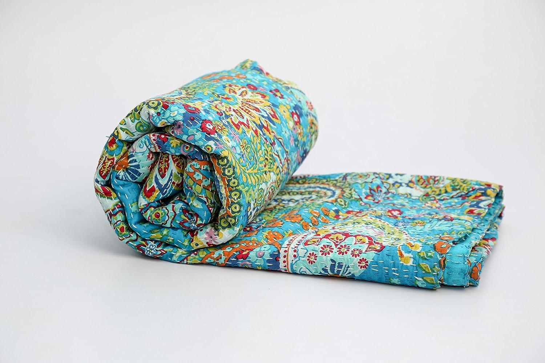 KING Size Kantha Quilt , Kantha Blanket, Bed Cover, Bedspread, Bohemian Bedding 90108