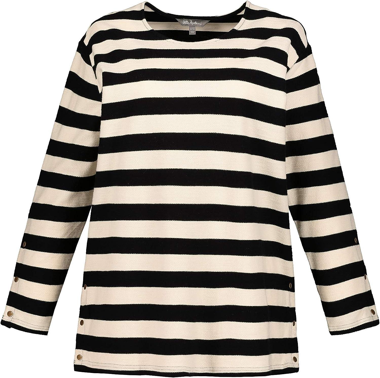Ulla Popken Damen groe Gren bis 62+     Sweatshirt mit Blockstreifen     lnger geschnitten     Druckknpfe am Saum     Lange rmel     717589