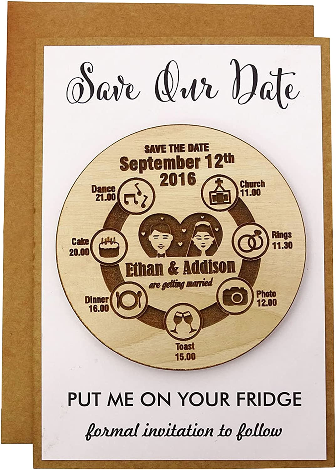 Atlanta Mall Personalized Wedding Save The Date 100% quality warranty! Engraved Wood 20 Cards Rustic