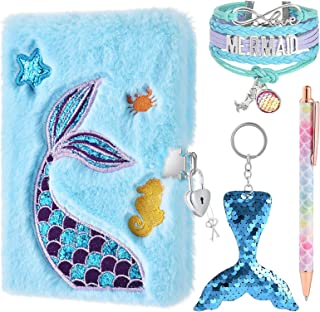 WERNNSAI Plush Mermaid Notebook Set - دفتر خاطرات براق برای کودکان گلدوزی الگوهای ژورنال سفر مدرسه دفترچه یادداشت توپ توپ قلم حلقه های کلیدی دستبند قفل کلیدهای تولد