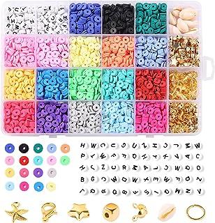 4000 stuks kleiparels, 6 mm vlakke, ronde kralen met 270 sieradenproductiekit, 20 kleuren, handgemaakte platte kralen voor...