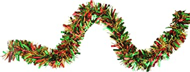 Northlight 12' Green, Red and Metallic Gold Wide Cut Christmas Tinsel Garland
