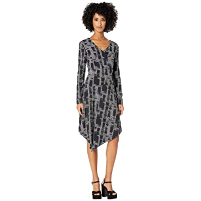 Nicole Miller Painted Herringbone Asymmetrical Dress (Black Multi) Women