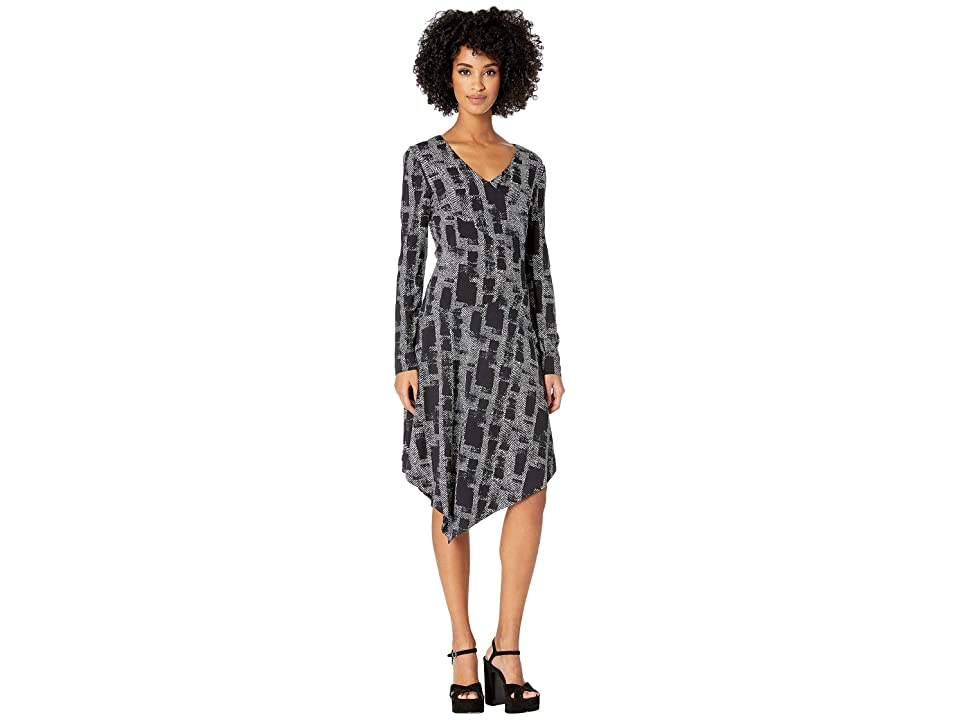 Nicole Miller Painted Herringbone Asymmetrical Dress (Black Multi) Women