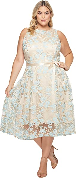Tahari by ASL - Plus Size Embroidered Mesh Midi Dress