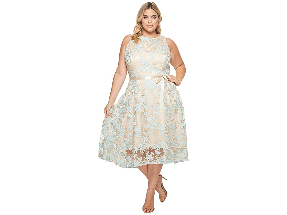 Tahari by ASL Plus Size Embroidered Mesh Midi Dress (Nude/Ice Blue/Gold) Women