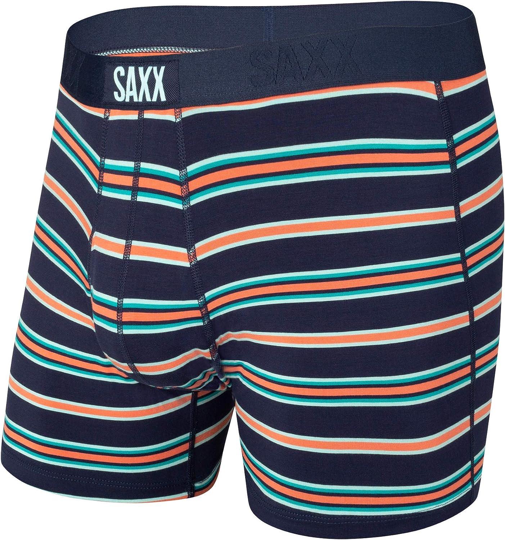Saxx Underwear Men's Boxer Briefs- Ultra Boxer Briefs with Fly and Built-in Ballpark Pouch Support – Underwear for Men, Navy Vista Stripe, X-Large