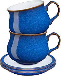 Denby 1048701 Imperial Blue 4 Piece Tea/Coffee Cup and Saucer Set