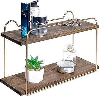 MyGift 2-Tier Wood & Metal Brass Tone Bathroom Vanity Shelf Organizer