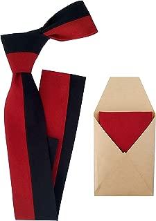 Corbata roja y azul para hombre cosida a mano con pañuelo de ...