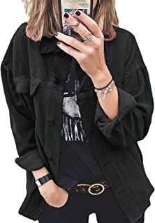 Ladies Shirt Corduroy Solid Color Buttoned Casual Loose...