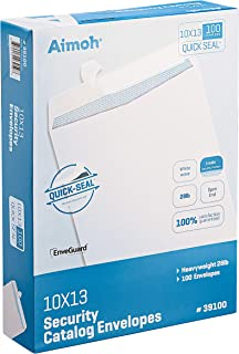 100 10 x 13 Self-Seal Security White Catalog Envelopes - 28lb, 100 Count, Security Tinted, Ultra Strong Quick-Seal, 10x13 ...