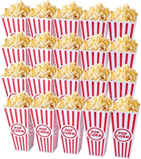 Tebery 20 Pack Plastic Open-Top Popcorn Boxes Reusable Movie Theater Style Popcorn Container Set -7.7