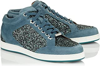 JIMMY CHOO Miami Leather Star Glitter Sneakers, Dusk Blue
