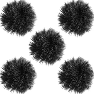 TecUnite 5 Pack Mini-Size Lapel Lavalier Microphone Furry Windscreen Muff (Gray)