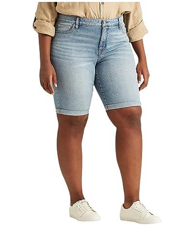 LAUREN Ralph Lauren Plus Size Stretch Cotton Blend Shorts (Light Indigo Wash) Women