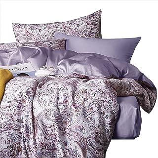 Wake In Cloud - Bohemian Duvet Cover Set, Sateen Cotton Bedding, Boho Chic Paisley Mandala Pattern Printed, Solid Plain Purple on Reverse, Zipper Closure (3pcs, Queen Size)
