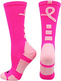 Sports Breast Cancer Awareness Pink Ribbon Baseline Crew Socks