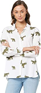 French Connection Women's Roaming Elephants CORE Shirt, Off White/Multi