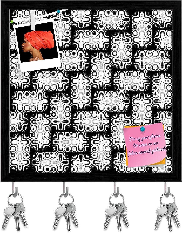 Artzfolio Monochrome Geometric D2 Key Holder Hooks   Notice Pin Board   Black Frame 20 X 20Inch