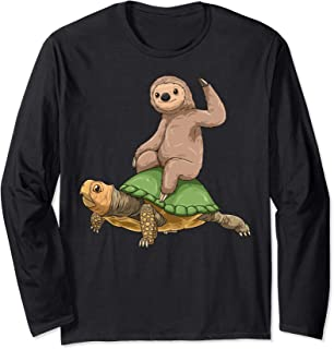 Sloth Turtle Sloth Riding Turtle Lovers Sloth Lovers Long Sleeve T-Shirt